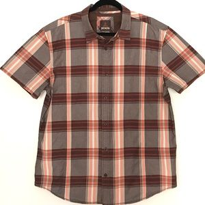 Prana Plaid Brown Orange Short Sleeve Cotton Sz XL